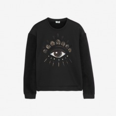 KENZO | Eye-embellished neoprene-effect and fleece sweatshirt
