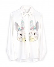 【Silver Lining 独立设计】ZOO系列丝绵衬衫-电音兔