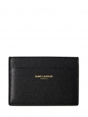 SAINT LAURENT MENS GRAIN LEATHER SMALL CARD HOLDER