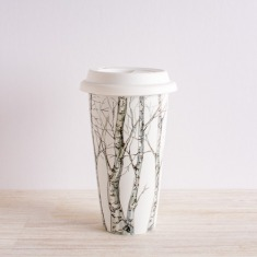 Birch trees white mug