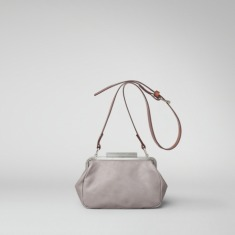 Ally Capellino | Cross body leather frame bag in grey | Ally Capellino