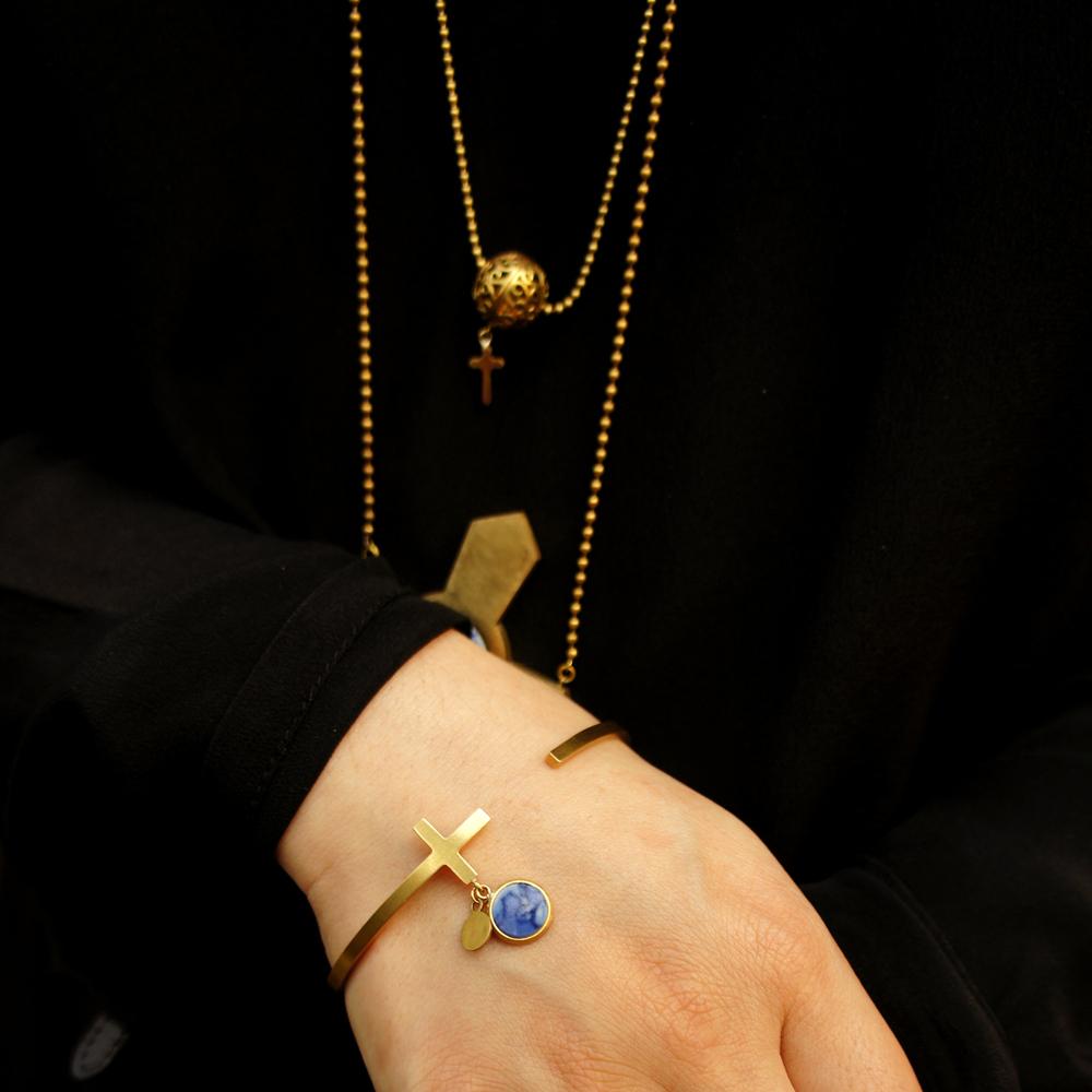 十字架系列手镯-直角 | 精致典雅的青花古瓷饰品