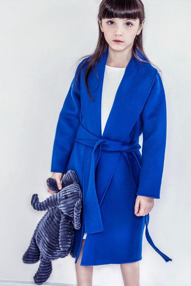 电蓝双面羊毛大衣