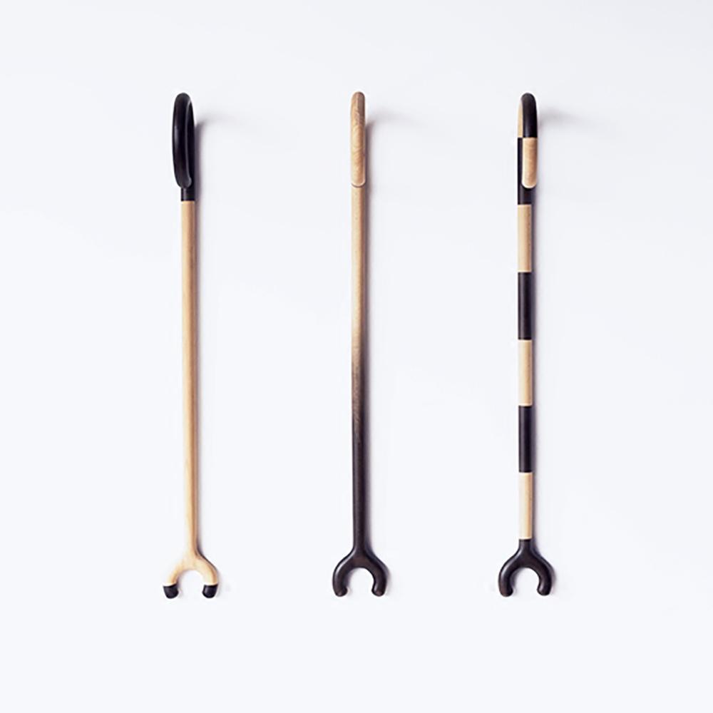 吱音 老顽童依杖 木质老年人多功能拐杖衣杆