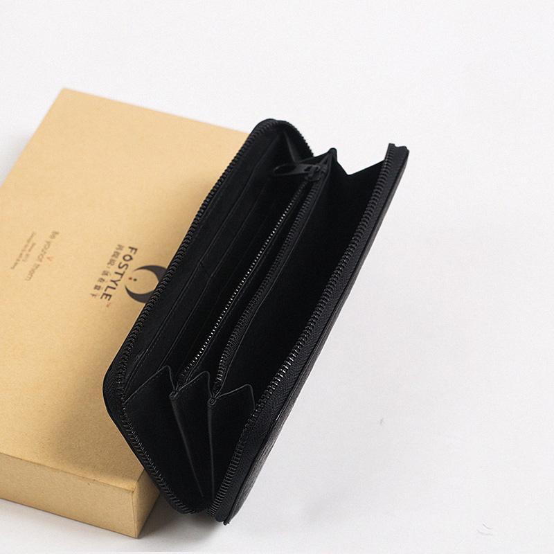 手工真皮窄版长款拉链钱包   设计极简 生活百搭